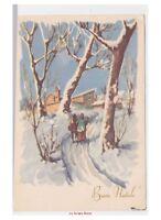 masa de navidad tarjeta postal vintage strada por país nieve subida a la iglesia