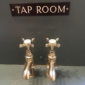 Refurbished Antique Lefroy Brooks Brass Basin Taps - Ready To Fit.  L33