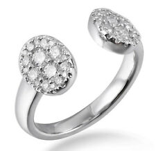 Solid 14K White Gold Real Natural Diamond Cluster Empty Space Women Fashion Ring