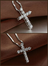 18'' Women 925 Sterling Silver Plated Crystal Punk Jesus Cross Pendant Necklace