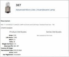 Advanced Micro Lites Aml-387, T-1 3/4 Midget Flanged Lamp, 28v, Morley (96 Pcs)