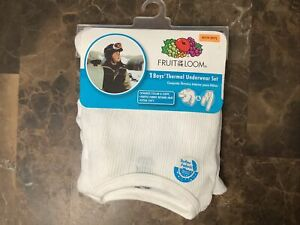 New Boys Fruit of the Loom Thermal Underwear Set shirt Pants White  S 6/7