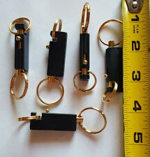 (Lot of 5) Keychains Quick Release Removable Key Rings Black and Gold Rectangle