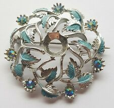 Vintage Blue and Silver Coloured Brooch Leaves Jewels Stones