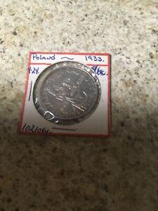 RARE POLAND 1933 - 10 ZLOTY UNC SCARCE SILVER COIN