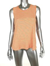 Chadwicks Womens Rib Knit Tank Top XL Orange White Stripe 100% Cotton Casual