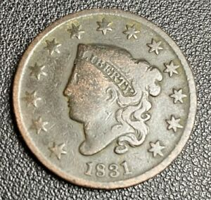 1831 Coronet Head US Mint Large One Cent 1C Copper, LARGE LETTERS, Nice Coin
