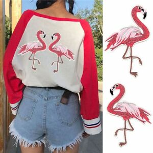 2pcs Red Flamingo Patch DIY Sewing Iron-On Clothes Apparel Applique