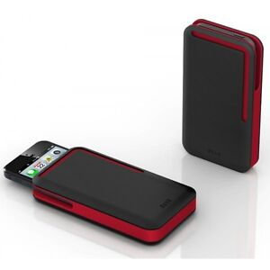 DOSH NEW Rubber iPhone Card Wallet Black/Red BNWT