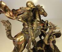 LARGE St George THE DRAGON SLAYER Sculpture Statue Bronze Finish