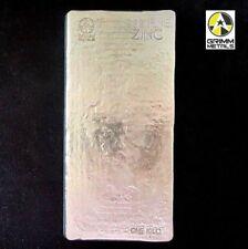 1 Kilo .999 Fine Zinc Bullion Stacker Bar - Hand Poured - Hand Stamped
