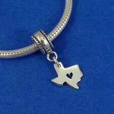 .925 Sterling Silver TEXAS STATE Heart Dangle Bead CHARM fits EUROPEAN Bracelet