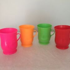 Kool Aid man collectible vtg 80s oh yeah smiley plastic colorful lot of 4 cups
