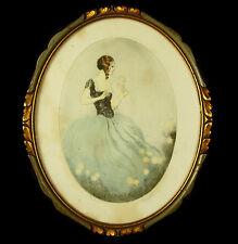 Jeune-femme aux fleurs, dessin signé Nicols vers 1900 Young woman-flower 30 cm