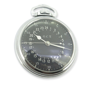 .WWII 1944 Hamilton GCT 22j 4992B Military Army Navigation Pocket Watch AN 5740