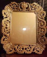 Vtg Gold Ormolu Frame Huge Detailed Heavy Filigree Rococo Hollywood Regency WOW