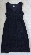 EDDIE BAUER Dress Black Burnout Velvet Paisley Size 4