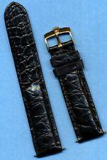 GENUINE ROLEX GOLD FILLED BUCKLE & 20mm GENUINE BLACK CROCODILE STRAP BAND    19