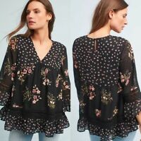 Anthropologie Maeve Medium Blouse Black Floral Bell Sleeve