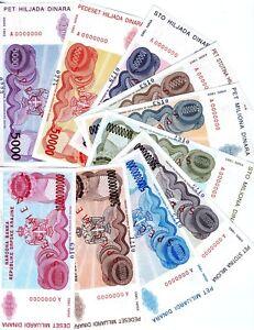 Specimen Set of 10 banknotes, Croatia, Knin, R20s-R29s, 1993, aUNC-UNC
