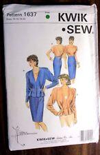 KWIK * SEW LADIES SUIT SEWING PATTERN NO. 1637 SIZE 14-20 UNCUT