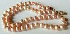 """Vintage Cultured Pearl Necklace 14K Clasp 18"""" PINK PEARLS 6mmx7-8mm"""