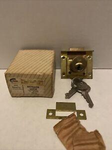 "Vintage Corbin Solid Brass Drawer Lock #0666. 7/8"" diameter hole New In Box!"
