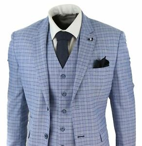 Mens 3 Piece Sky Blue Suit Check Tweed Vintage CLassic Wedding Prom Formal