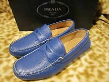 PRADA MILANO MENS LEATHER BLUE LOGO LOAFER DRIVER SHOES 6 /US 7 D NEW NIB