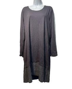GARNET HILL Women's Organic Cotton Silk Contrast Layered Shirt Dress Size XL