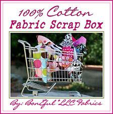 BonEful Fabric COTTON QUILT LOT Scrap BOX Kid Flower Girl Scout 4-H Sewing SALE