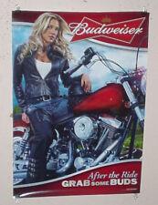 Bud Budweiser Blonde Girl Harley Motorcycle Beer Poster