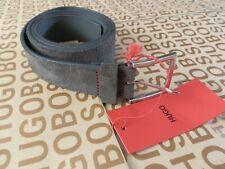 """New Hugo Boss mens designer casual brown leather trouser jeans belt 34"""" 90cm £89"""