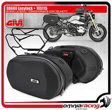 Coppia Borse Moto GiVi 3D600 Easylock 25Lt + Attacchi Laterali TE5115 BMW Nine T