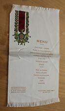 Ancien menu sur soie chambre syndicale des rubans et tissu Grand Cercle