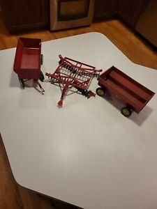 Lot of Vintage Metal Farm Toys ERTL Wagon Tru Scale Yellow Wheels Disc Plow