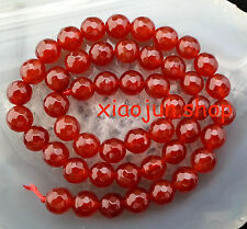 Natural 8mm faceted  Red Agate Round Loose Beads Gemstone 15''