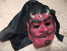 Rote Gummiartige Faschingsmaske Kapuze Teufel Horror für Erwachsene