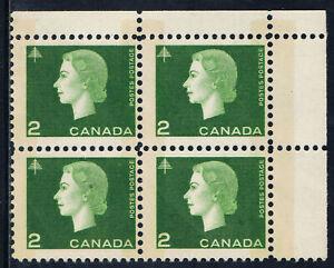 Canada #402p(31) 1963 2 ct green W2B ELIZABETH II Upper Right Block MNH CV$4.00
