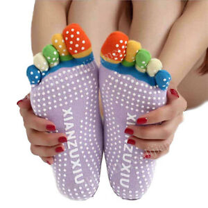 Yoga Socks Non Slip Pilates Massage 5 Toe Socks with Grip Exercise Gym Big Range