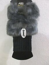 ABS Womens Faux Fur Knit Boot Topper Legwarmers Gray One Size