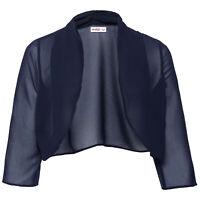 schöne edle Abendjacke Gr.46/48 Transparent Chiffon Bolero Jacke marine blau