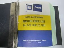 81 General Motors GM Canada Master Price List D39 June 1981 USED