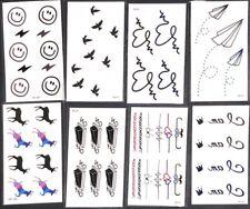 Temporary Tattoo Sticker Happy Face Birds Hearts Deer 8 PCS