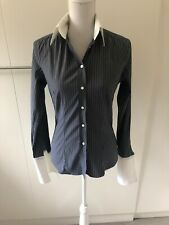 Gant Fitted Shirt Grey With White Stripes Size UK10 Fits AU10