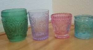 SET OF 4 COLORED CRISTALERIA CANDLE HOLDERS GREEN LILAC PINK AND SAPPHIRE BLUE