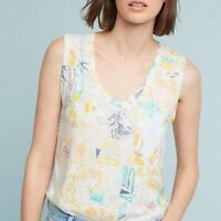 NWT Postmark Anthropologie Abstract Floral Pocket Tunic Tank Top Blouse Size M