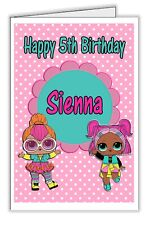 Lol Surprise Doll Girl's Pretty Pink Personalised Birthday Card - any name & age