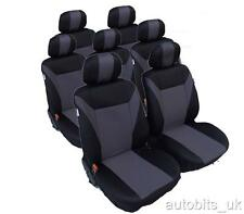 FULL SET  GREY-BLACK 7X FABRIC SEAT COVERS FOR 7 SEATER CAR MPV VAN