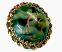 Vintage Large Gold Green Marbled Aventurine Glass Cabochon Brooch GIFT BOXED